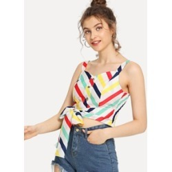 Multi Striped Self Tie Top found on Bargain Bro India from Sheinside for $9.00