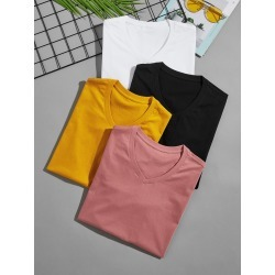 Men 4pcs V Neck Tee found on Bargain Bro India from SHEIN for $35.79