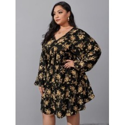 Plus All Over Floral Print Ruffle Hem Dress found on Bargain Bro from Sheinside for USD $13.68