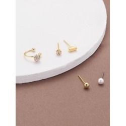 Set Of Five Pearl Stud Mini Bar And Cuff Earrings