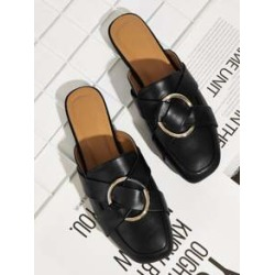 Metal Ring Decor Flat Mules found on Bargain Bro India from Sheinside for $18.00