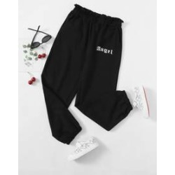 Girls Letter Graphic Paperbag Waist Heather Gray Sweatpants found on Bargain Bro from Sheinside for USD $10.64
