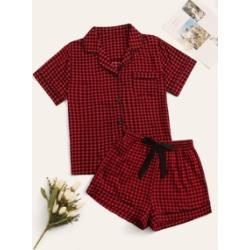 Gingham Button-up Pajama Set