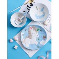 1pc Unicorn Pattern Ceramic Tableware