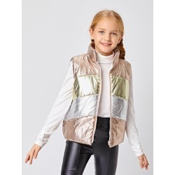 Girls Colorblock Puffer Vest Jacket found on Bargain Bro from SHEIN for USD $17.56