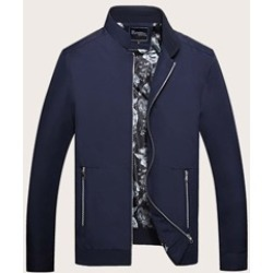 Men Solid Zip-up Stand Collar Jacket