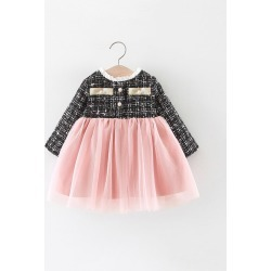 Toddler Girls Mesh Panel Pearls Button Tweed Dress found on Bargain Bro Philippines from SHEIN for $20.72