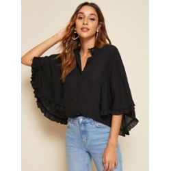 Frill Neck Button Front Cloak Sleeve Top
