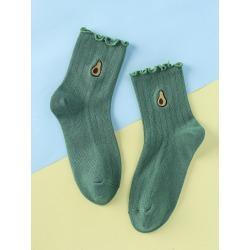 Avocado Embroidery Socks