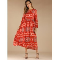 Tribal Print A Line Longline Dress