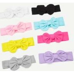 Girls Bow Decor Plain Elastic Headband 8pack found on Bargain Bro India from Sheinside for $15.00