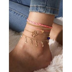 5pcs Star Decor Braided Anklet found on Bargain Bro India from Sheinside for $3.00