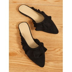 Point Toe Ruffle Decor Flat Mules found on Bargain Bro India from Sheinside for $16.00
