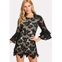 4be3f23f90 Ruffle Sleeve Floral Lace Romper found on MODAPINS from Sheinside for USD  $27.00