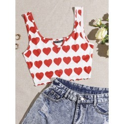 All Over Heart Print Notched Neck Lettuce Trim Tank Top found on Bargain Bro from SHEIN for USD $4.10