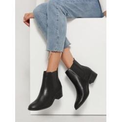 Faux Leather Low Heel Chelsea Booties