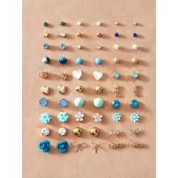 30pairs Flower & Bow Knot Decor Stud Earrings found on Bargain Bro India from SHEIN for $8.08