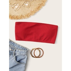 Rib Bandeau Bikini Top found on Bargain Bro India from SHEIN for $8.82