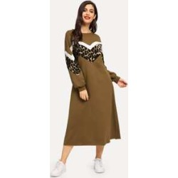 Drop Shoulder Leopard Panel Hijab Dress