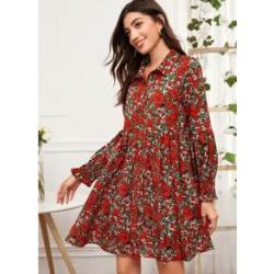 Shirred Cuff Floral Print Dress