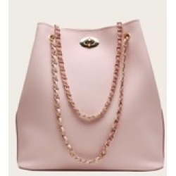 Twist Lock Tote Bag With Chain Strap