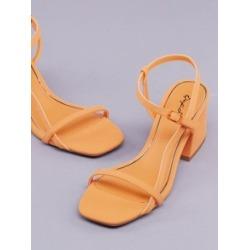 Open Toe Asymmetric Ankle Strap Block Heel Sandals