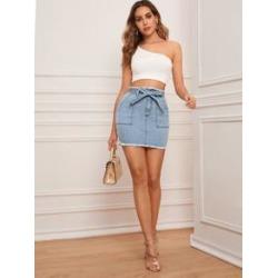 Raw Hem Belted Mini Denim Skirt