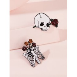 Skull & Rose Decor Brooches 2pcs found on Bargain Bro Philippines from Sheinside for $2.00