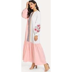 Floral and Geo Embroidered Colorblock Hijab Dress