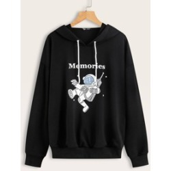 Letter & Astronaut Print Hooded Sweatshirt found on MODAPINS from Sheinside for USD $14.00