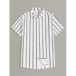 Men Stand Collar Button Front Striped Shirt