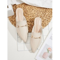 Point Toe Metal Decor Flat Mules found on Bargain Bro India from Sheinside for $20.00