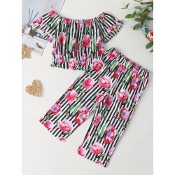 Toddler Girls Floral And Striped Bardot Top & Pants found on Bargain Bro Philippines from SHEIN for $20.72