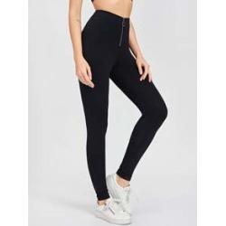 Zip Front Solid Leggings found on Bargain Bro Philippines from Sheinside for $11.00