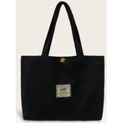 Slogan Patch Decor Canvas Shopper Bag found on Bargain Bro Philippines from Sheinside for $4.00