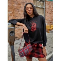 Chinese Dragon Print Hooded Sweatshirt found on MODAPINS from Sheinside for USD $13.00