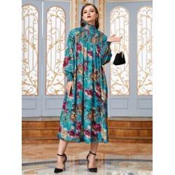Allover Floral High Neck Shirred Smock Dress