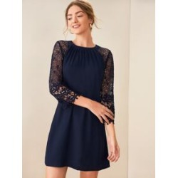 Guipure Lace Raglan Sleeve Tunic Dress found on Bargain Bro Philippines from Sheinside for $19.00