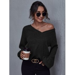V Neck Rib-knit Tee found on Bargain Bro from Sheinside for USD $10.64