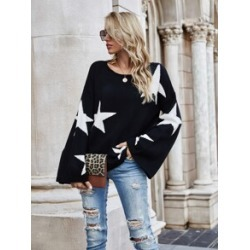 Geo Pattern Drop Shoulder Oversized Sweater found on MODAPINS from Sheinside for USD $25.00