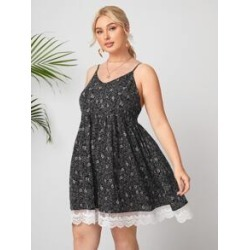 Plus Floral Contrast Lace Flowy Cami Dress found on Bargain Bro Philippines from Sheinside for $16.00