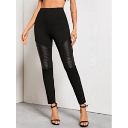 Quilted Faux Leather Panel Skinny Pants