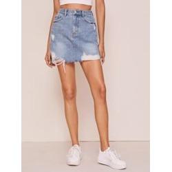 Raw Hem Ripped Mini Denim Skirt
