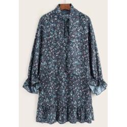 Ditsy Floral Flounce Sleeve Smock Dress