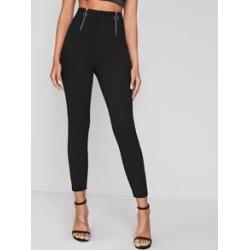 O-ring Zipper Front Skinny Pants