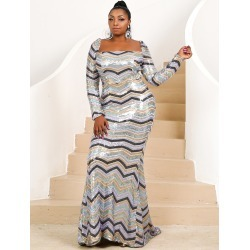 Plus Square Neck Chevron Floor Length Sequins Dress found on Bargain Bro Philippines from SHEIN for $69.89