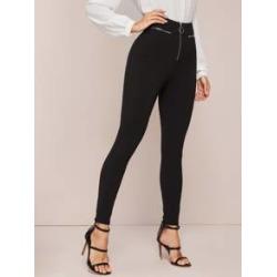 Zip Front Skinny Pants