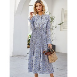 Ditsy Floral Print Tie Neck Pleated Dress
