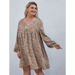 Plus Leopard Print V Neck Babydoll Dress found on Bargain Bro India from SHEIN for $15.97
