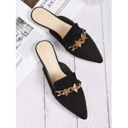 Point Toe Rhinestone Decor Flat Mules found on Bargain Bro India from Sheinside for $20.00